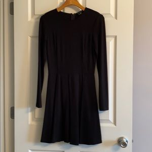 Theory Black Long Sleeves Fit & Flare Dress
